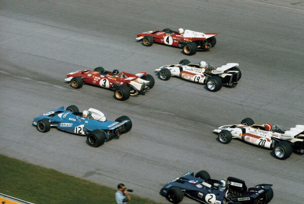 1971 Italian Grand Prix.   Monza, Italy. 3-5 September 1971.   Clay Regazzoni leads teammate Jacky Ickx (both Ferrari 312B2's), Chris Amon (Matra Simca MS120B), Howden Ganley and Jo Siffert (both BRM P160's) and Francois Cevert