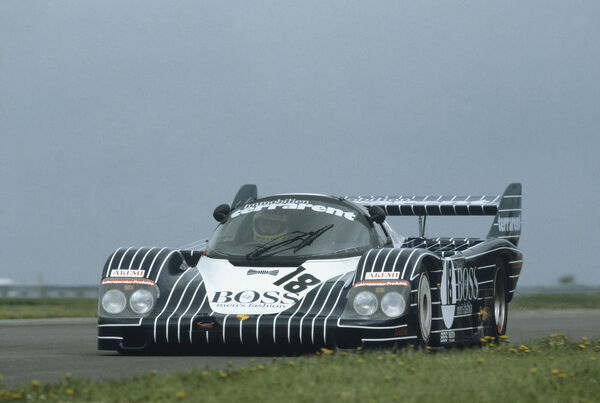 1983 Silverstone 1000 Kms.   Silverstone, England. 8th May 1983. Rd 2.   Axel Plankenhorn/Jurgen Lassig/Harald Grohs (Porsche 956), 4th position, action.   World Copyright: LAT Photographic.   Ref: 83SIL06