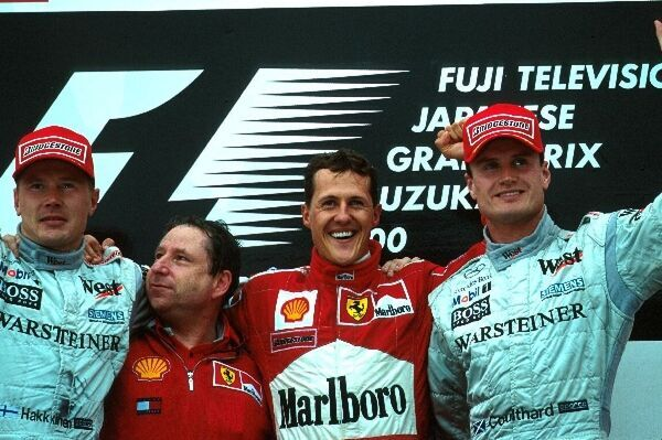 Formula One World Championship 2000: L to R: Mika Hakkinen 2nd, Jean Todt, Winner Michael SchumacherFerrari F1 2000 and David Coulthard 3rd