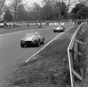 1965 Tourist Trophy: John Whitmore, 4th position, leads Jack Sears, 7th position, action