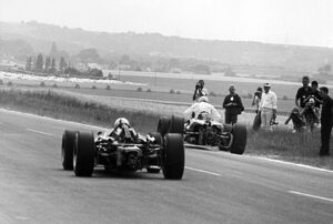 1966 French Grand Prix: Jack Brabham, Brabham BT19-Repco, 1st position, takes the lead