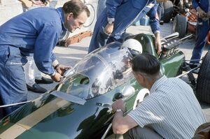 1967 Italian Grand Prix: Jack Brabham with an experimental all-enclosing windscreen