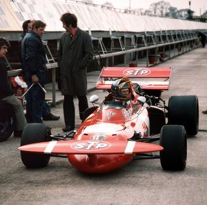 1971 Formula One Testing: Ronnie Peterson, in the pit lane at the launch, portrait
