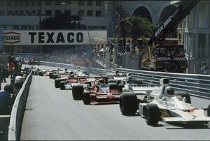 1973 Monaco Grand Prix: Denny Hulme 6th position, leads Chris Amon, retired, and Wilson Fittipaldi