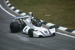 1975 Brazilian Grand Prix - Carlos Pace: Carlos Pace, Brabham BT44B Ford, taking