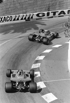 1979 Monaco Grand Prix: Jody Scheckter 1st position, leads Gilles Villeneuve retired