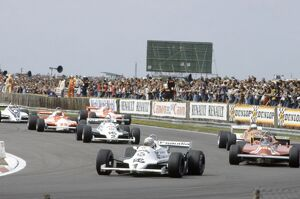 1981 British Grand Prix: Alan Jones leads Gilles Villeneuve, Riccardo Patrese, Carlos Reutemann