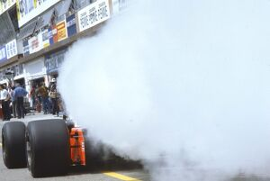 1983 San Marino Grand Prix: A McLaren MP4/1C Ford blows its engine