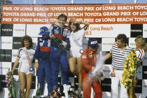 1983 United States Grand Prix West: John Watson, 1st position, celebrates on the