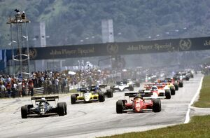 1984 Brazilian Grand Prix: Michele Alboreto, retired leads Elio de Angelis, 3rd position
