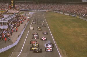 1984 German Grand Prix: Elio de Angelis leads Alain Prost, Derek Warwick, a locking