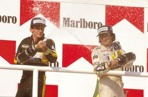 1986 Hungarian Grand Prix: Nelson Piquet 1st position with Ayrton Senna 2nd position