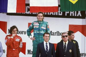 1986 Mexican Grand Prix: Gerhard Berger 1st position, Alain Prost, 2nd position, and Ayrton Senna
