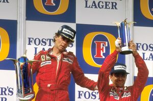 1987 Australian Grand Prix: Gerhard Berger, 1st position gives teammate Michele Alboreto