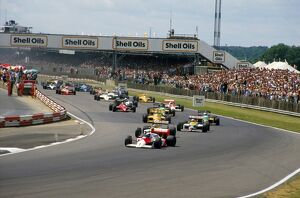 1987 British Grand Prix: Alain Prost leads Nelson Piquet and Nigel Mansell into Copse