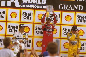 1987 British Grand Prix: Nigel Mansell 1st position, Nelson Piquet and Ayrton Senna