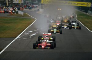 1987 Japanese Grand Prix: Gerhard Berger leads Alain Prost and Thierry Boutsen at