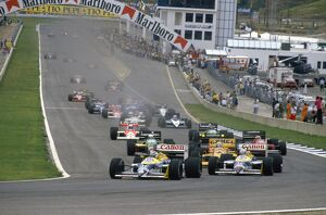 1987 Spanish Grand Prix: Nelson Piquet and teammate Nigel Mansell lead Ayrton Senna