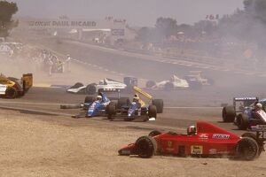 1989 French Grand Prix: The aftermath of Mauricio Gugelmin's huge crash on the