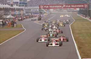 1989 Japanese Grand Prix: Alain Prost leads teammate Ayrton Senna and Gerhard Berger