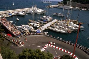 1989 Monaco Grand Prix: Alain Prost 2nd position at the Nouvelle Chicane with the