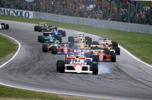 1989 San Marino Grand Prix: Ayrton Senna locks up at Tosa whilst leading the field