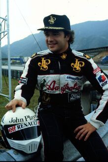 Lotus Driver Elio de Angelis poses in his new racewear for the coming F1 season