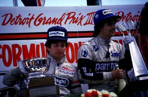Martin Brundle, Tyrrell finishes 2nd on the podium behind Brabham's Nelson Piquet