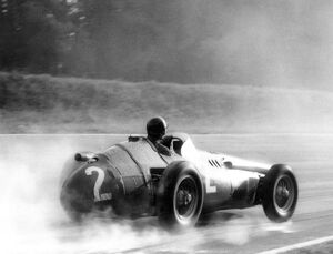 Monza, Italy. 8 September 1957: Juan Manuel Fangio, 2nd position