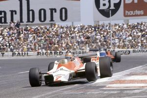Paul Ricard, France. 27-29 June 1980: John Watson, 7th position, leads Jean-Pierre Jarier