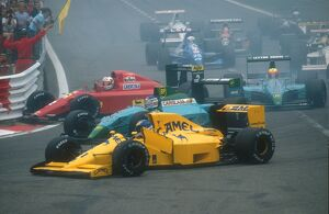 Spa-Francorchamps, Belgium: Nigel Mansell was hit from behind by Nelson Piquet