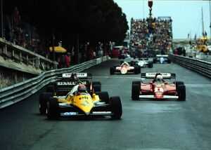 The start of the race. Front row man Rene Arnoux and team mate Patrick